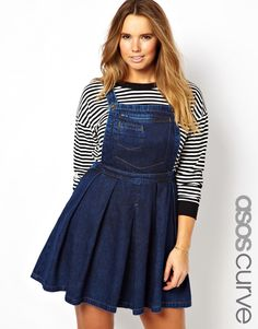 ASOS Curve | ASOS CURVE Denim Pinafore Dress In Dark Vintage Wash at ASOS