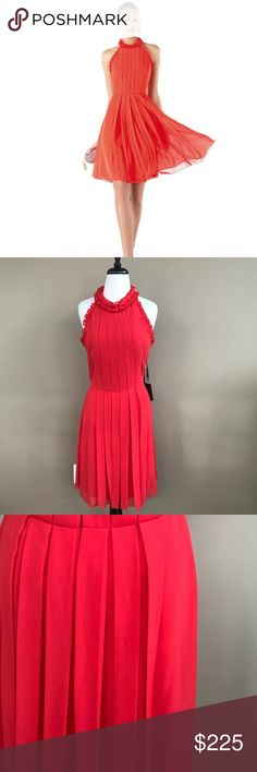 """• Pronovias • Ruta Tomato Cocktail Dress Red 12 - Pronovias Barcelona  - Cocktail / Bridesmaid Dress  - Ruta Style - Halter Top - Color: Tomato Red - IT Size: 44 US Size: 12 - Length 38"""" - New with Tags  - Has a strand Pull (pictured, not noticeable) Pronovias Dresses Backless"""