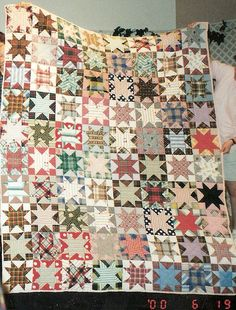 Vintage stars quilt, plaids and stripes