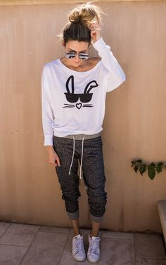EASTER CHIC: Bunny Face Long Sleeve Tee by: ILY COUTURE ilycouture.com