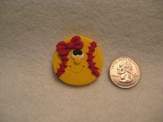 Happy Softball HAIR BOW CENTER   Polymer Clay  by LittleClayMarket, $1.75