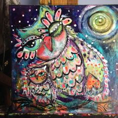 """Sweet Owl Mama and baby enjoying the moonlit night. This is a richly textured original piece of mixed media art. Lots of love in this piece! If you know an owl lover than this is a perfect piece for them. Will come signed, dated and wired so it's ready to hang! Size is 12"""" x 12""""."""