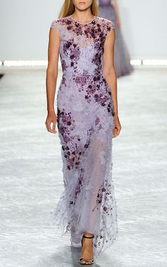 Monique Lhuillier Lavender Ombre Lace Embroidered Gown in Purple (Amethyst) | Lyst