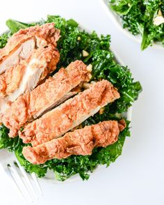 Chile-Garlic Kale Salad with Fried Chicken