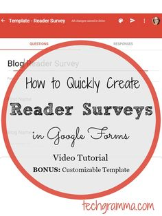 Watch this step by step video tutorial to see how to create reader surveys free in Google Forms. Plus get a bonus customizable template!