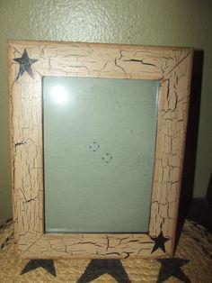 Primitive Crackle Wood Picture Frame 5x7 Black Stars Country Decor #NaivePrimitive