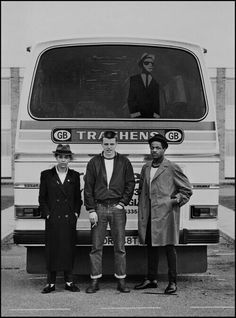 Pauline Black (The Selecter), Suggs (Madness), Neville Staples (The Specials); the 2 Tone tour, 1979