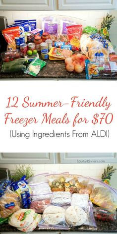 Transform these $70 worth of groceries into 12 delicious, freezer friendly, summer-inspired meals for your family using ingredients from Aldi (or ANY grocery store). Let me show you how! | 5DollarDinners.com