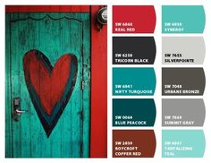 Red and Turquoise Color Palette Paint Schemes, Colour Schemes, Colour Combinations, Wall Colors, House Colors, Colours, Teal Paint Colors, Red Colour Palette, Colour Palettes