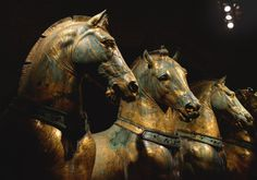 Horses of Saint Mark - ancient Roman statues looted from Constantinople in 1204 during the Fourth Crusade. Looted from Venice by Napoleon in 1797, returned to Venice after the battle of Waterloo. 4th century BC
