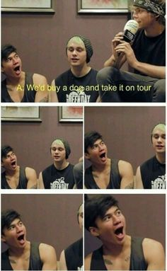 That is pure genuine happiness on Calum's face. Please get this kid a dog.