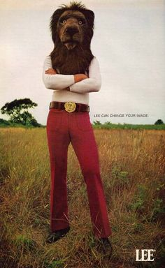 "vintage everyday: ""Lee Can Change Your Image"" - Bizarre Lee Jeans Lion Head Adverts in the Lee Jeans, Lee Denim, Animal Heads, Animal Masks, Scary Lion, 70s Fashion, Vintage Fashion, Knit Fashion, Fashion Story"