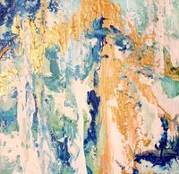 Blue, turquoise, gold abstract art, The Square Foot show in Toronto, Artist Nancy Ramirez