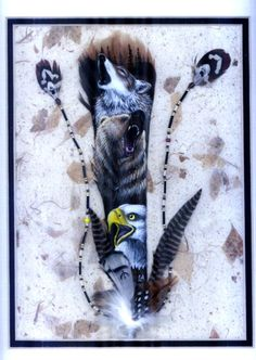 Wolf, Grizzly Bear and Bald Eagle, painted feather, by Linda Anderson, Okanagon Artist