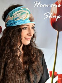 Blue Wide Headband Girl Figure Turban Blue Brown by HeavensShop, €15.00