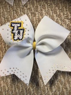 beba90bf5c5e5f Excited to share this item from my  etsy shop  white team Rhinestones cheer  bow