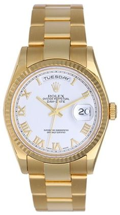 Rolex President Day-Date 118238 18K Yellow Gold White Roman Dial 36mm Mens Watch