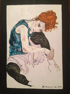 Donna seduta con gamba piegata - Egon Schiele by Rossafiamma - Tempera all'uovo