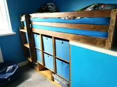 A DIY bulkhead box room bed and bedroom makeover post. Ideal bedroom decor idea for teenagers. Check out our home makeover post and Si's clever DIY. Box Room Bedroom Ideas For Kids, Box Room Beds, Bedroom For Girls Kids, Box Bedroom, Boys Bedroom Decor, Small Room Bedroom, Spare Room, Bulkhead Bedroom, Yellow Kids Rooms
