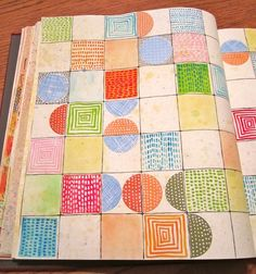 Delightful Patterns for a page :-)Pat Pitingolo Sketchbook Challenge - theme of opposites in mind--circles and squares, horizontal and vertical lines, and complimentary (opposite) colors on the color wheel. Sketchbook Challenge, Art Sketchbook, Art Journal Pages, Art Journals, Altered Books, Art Graphique, Elements Of Art, Art Journal Inspiration, Cartonnage