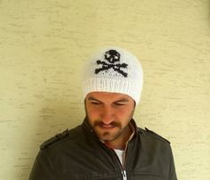 Knitted skull beanie unisex beret in white and by KnitterPrincess, $25.00