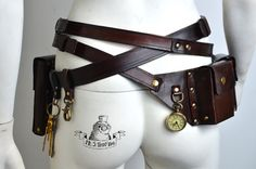 Ultimate steampunk bags and belts kit. Steampunk Belt, Steampunk Costume, Steampunk Pirate, Steampunk Fashion, Big Watches, Big Bags, Character Outfits, Leather Working, Character Inspiration