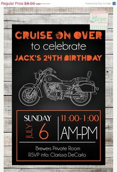 Christmas in JULY SALE Instant Download DIY Motorcycle Birthday Party Invitation 5x7 Pdf invite file Boy or Man Party Supplies Motorbike Har