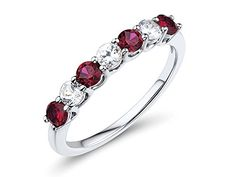 Lab Created Ruby and Lab Created White Sapphire 7Stone Ring in Rhodium Plated Sterling Silver >>> For more information, visit image link.Note:It is affiliate link to Amazon.