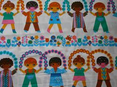 Vintage 70s children's fabric