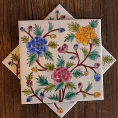 Floral Hand Painted Tile Coaster Hand Work Blouse Design, Dot Art Painting, Decoupage Art, Turkish Tiles, Craft Night, Flowers Nature, Tile Art, Islamic Art, Peony