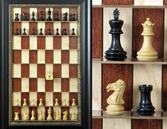 Vertical wall mounted chess board. Innovative new way to play and display your prized chess set.