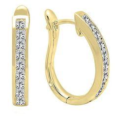 9f4854165b1a2 Pearl and Gem Designs 1.00 Carat (ctw) 18K Gold Princess Cut Diamond Ladies  Hoop