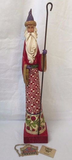 "Jim Shore ""Gathering Joy"" Santa Christmas Tall Pencil Figurine 2004 117648T 
