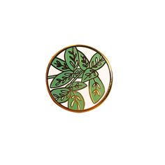 """The perfect house plant to go. Leafy Enamel Lapel Pin - 1"""" - Gold metal with Green and Pink Enamel. - Comes with rubber pin back."""