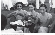 Girl having tea at the Shanghai Tennis Club - from SHANGHAI: A History in Photographs, 1842 – Today by HS Liu and Karen Smith