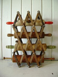 Vintage Display Rack Accordion Style Stained Wood by junquegypsy, $24.90