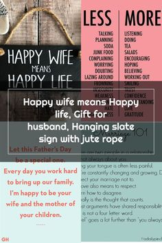 Happy wife means Happy life, Gift for husband, Hanging slate sign with jute rope Happy Wife Quotes, Slate Signs, Happy Love, Gifts For Husband, Jute, Encouragement, Utah, Burlap