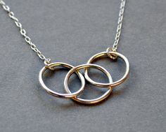 another view of Triple Hoops necklace. Modern Contemporary Simple Sleek Elegant Design. Sterling Silver Jewelry. Handmade by Epheriell on Etsy.. $52.00, via Etsy.