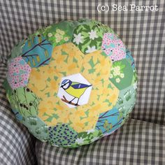 Hexie blue tit cushion made using Sea Parrot Spring garden and blue tit fabrics. All original designs found on Folksy or contact me directly. Patchwork Cushion, Patchwork Fabric, Blue Tit, Spring Garden, Parrot, Fabrics, Cushions, Sea, Quilts