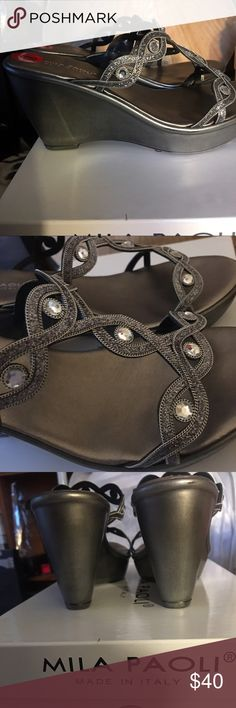 Milia Paioli Pewter Rhinestone Sandals Classy Pewter Dress sandals by Milia Paili straight from Italy!  Comfortable, stylish, and a great addition to your collection!  I purchased lower version in a smaller size for myself.  Comes to you new in box and never worn.l Milia Paioli Shoes Sandals