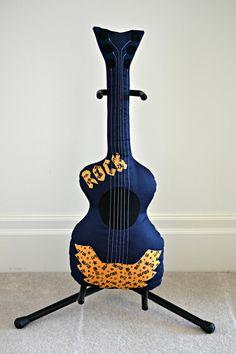 Classic Rock n Roll Guitar Pillow Navy / Guitar by pookiedookie
