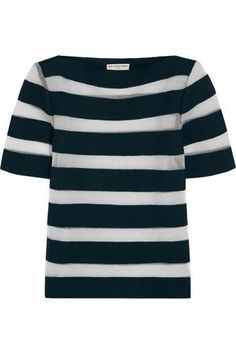 Mesh-striped linen-blend top #meshtop #women #covetme #balenciaga