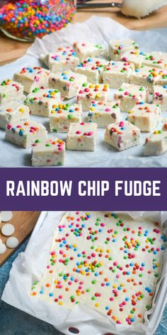 Rainbow chip fudge is a colorful two ingredient fudge recipe. This quick and easy treat is perfect for celebrating birthdays and other special occasions with the kids. They just gobble it up! This is a super quick and simple recipe that is perfect for the whole family and tastes yummy any time of the year!