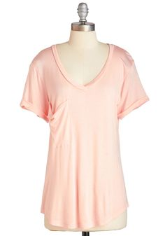 Awesome Sauce Tee in Peach. Inspired by the refreshing hue of this V-neck T-shirt, youre making a peach compote to top your freshly baked dessert. #pink #modcloth