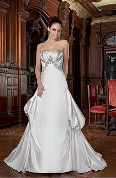 A-line Strapless Chapel Train Satin Floor-length Wedding Dresses