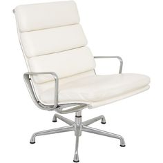 Pre-owned Herman Miller Eames Executive Desk Chair ($1,225) ❤ liked on Polyvore featuring home, furniture, chairs, office chairs, white, herman miller office chairs, white leather office chair, second hand office chairs, leather office chair and white office chair