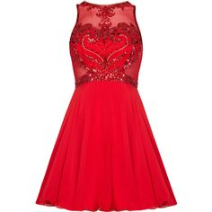 CHARITY Red Prom Dress with Fish Net and Beaded Detail ❤ liked on Polyvore featuring dresses, evening wear dresses, netted dress, red beaded dress, red dress and beaded cocktail dress
