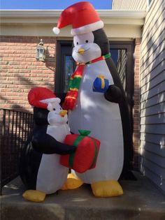 airblown inflatable 7 mother son penguin christmas yard decoration - Blow Up Camper Christmas Decoration