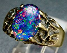 Men's Opal ring. Large 18x13mm opal. Top quality by AmyKJewels