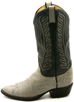 Tony Lama Mens Cowboy boots Sz 9.5 E Vintage Black Label Blue Gray Leather NICE! #TonyLama #CowboyWestern @ebay